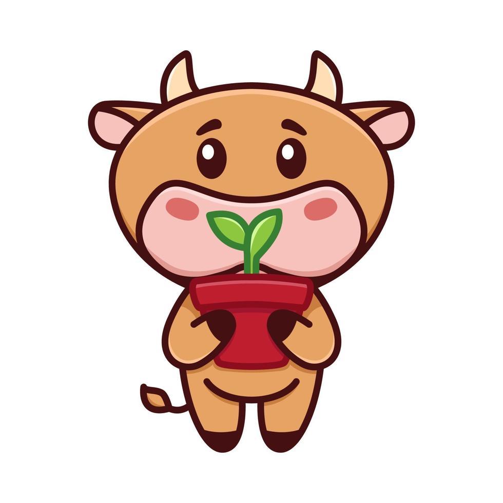 söt liten tjur håller en kruka med groddar. kon trädgårdsskötsel. vektor illustration. rolig logotyp. söt barnslig bild med liten tjur, ko, Oxe, kalvkaraktär. symbol för 2021.