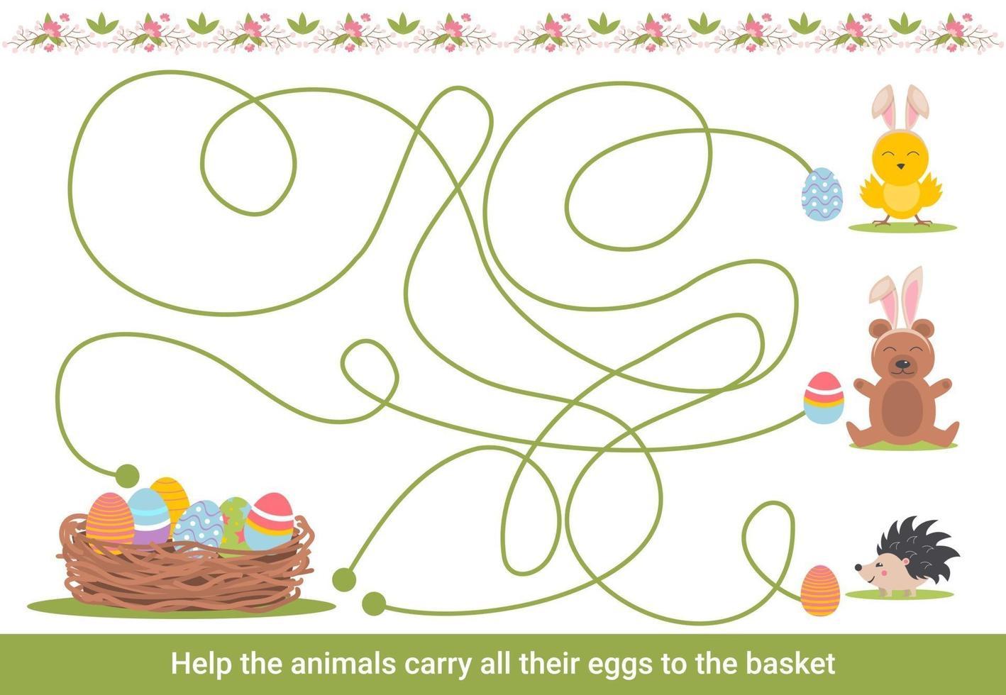 påsk labyrint för barn. förskolejulaktivitet. vårpusselspel med söta djur. vektor