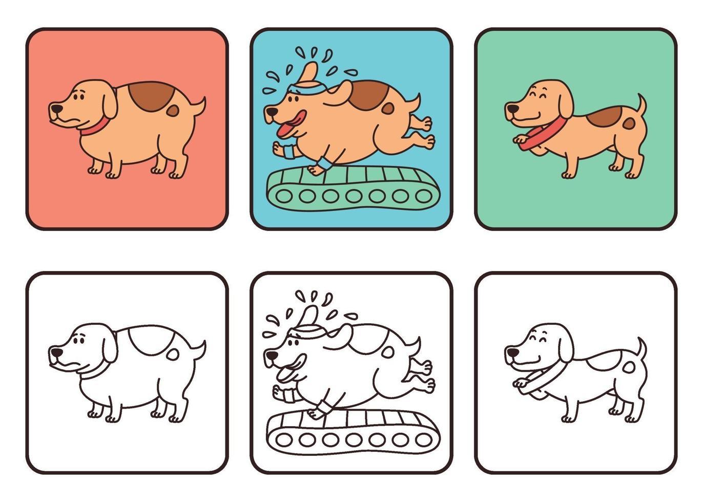 hund med normal vikt och övervikt, husdjur fetma ritning. det växande problemet med fetma hos hundar. körde på ett löpband, blev glad och smal. vektorillustration isolerad på vit bakgrund. vektor