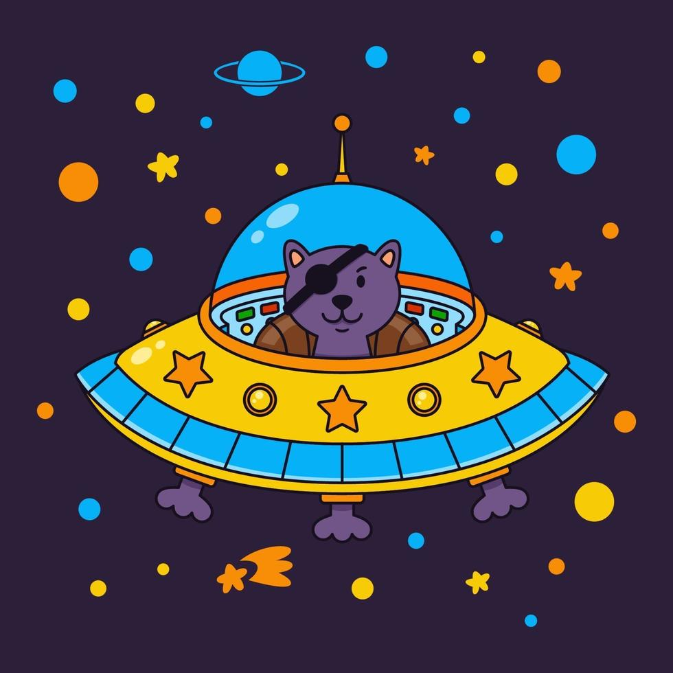 främmande kattpirat i ett rymdskepp i en stjärngalax. söt kosmonaut katt i yttre rymden. vektorillustration på rymdtemat i barnslig stil. vektor