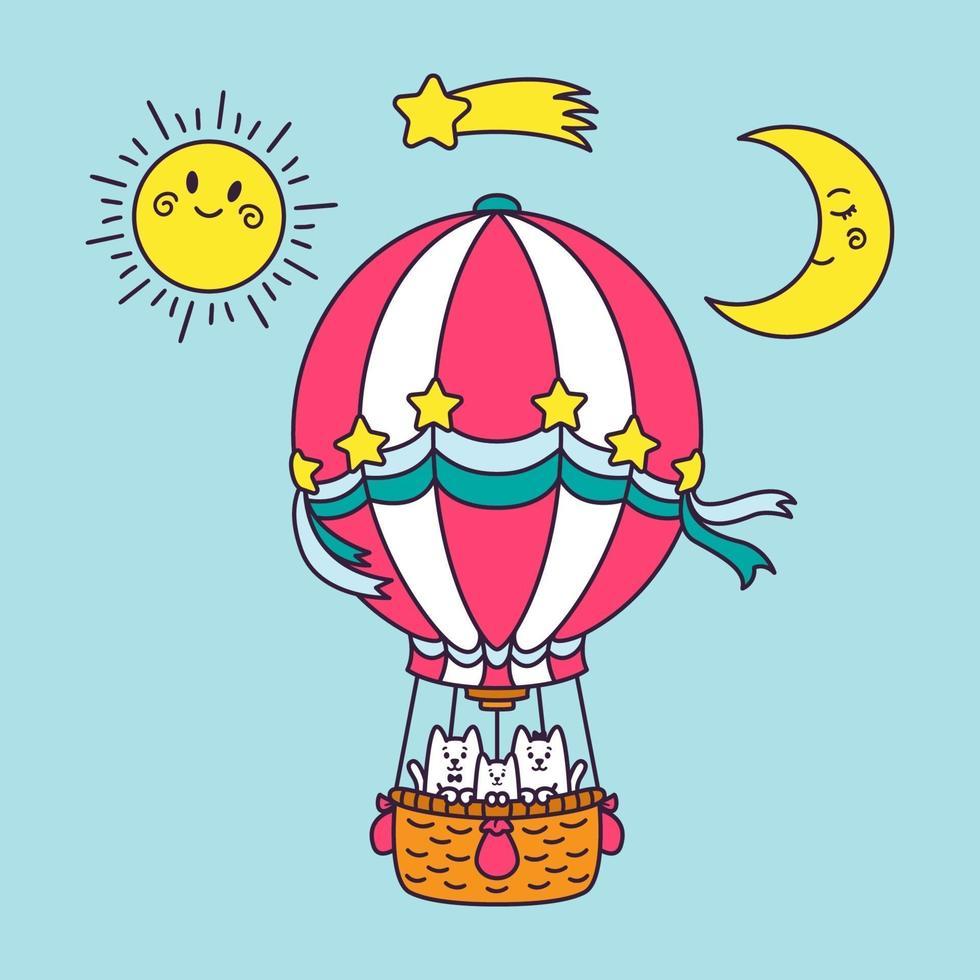en familj av katter flyger runt i världen i en ballong. sol, måne, stjärnfall, blå himmel. tecknad djur karaktär vektorillustration isolerad på bakgrunden. tryck för gratulationskort, barnkläder. vektor
