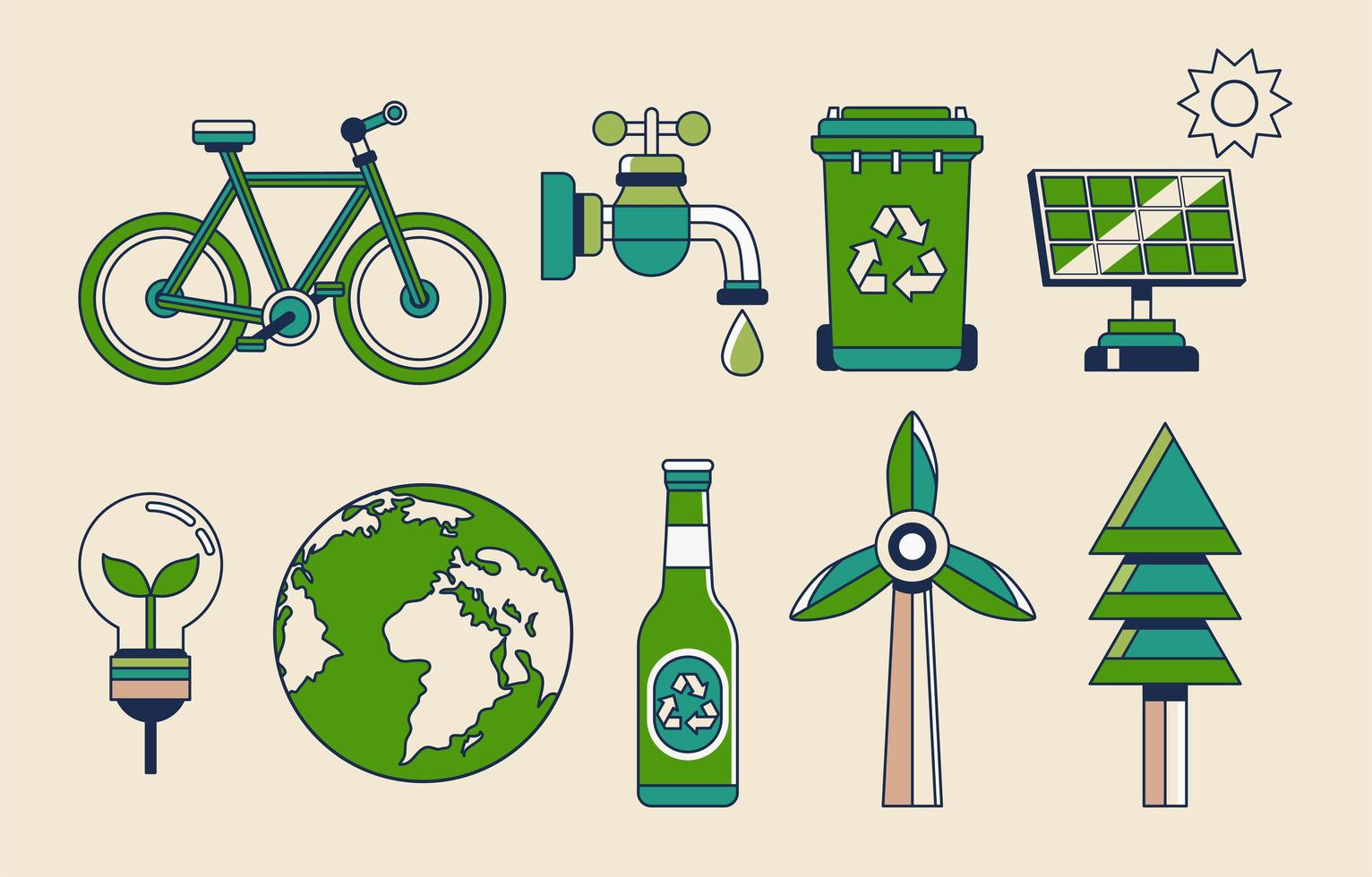 jordens dag gröna ikonuppsättning vektor