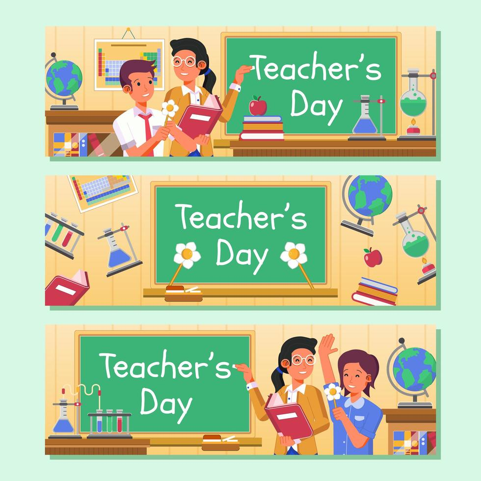 lärarens dag banner samling vektor