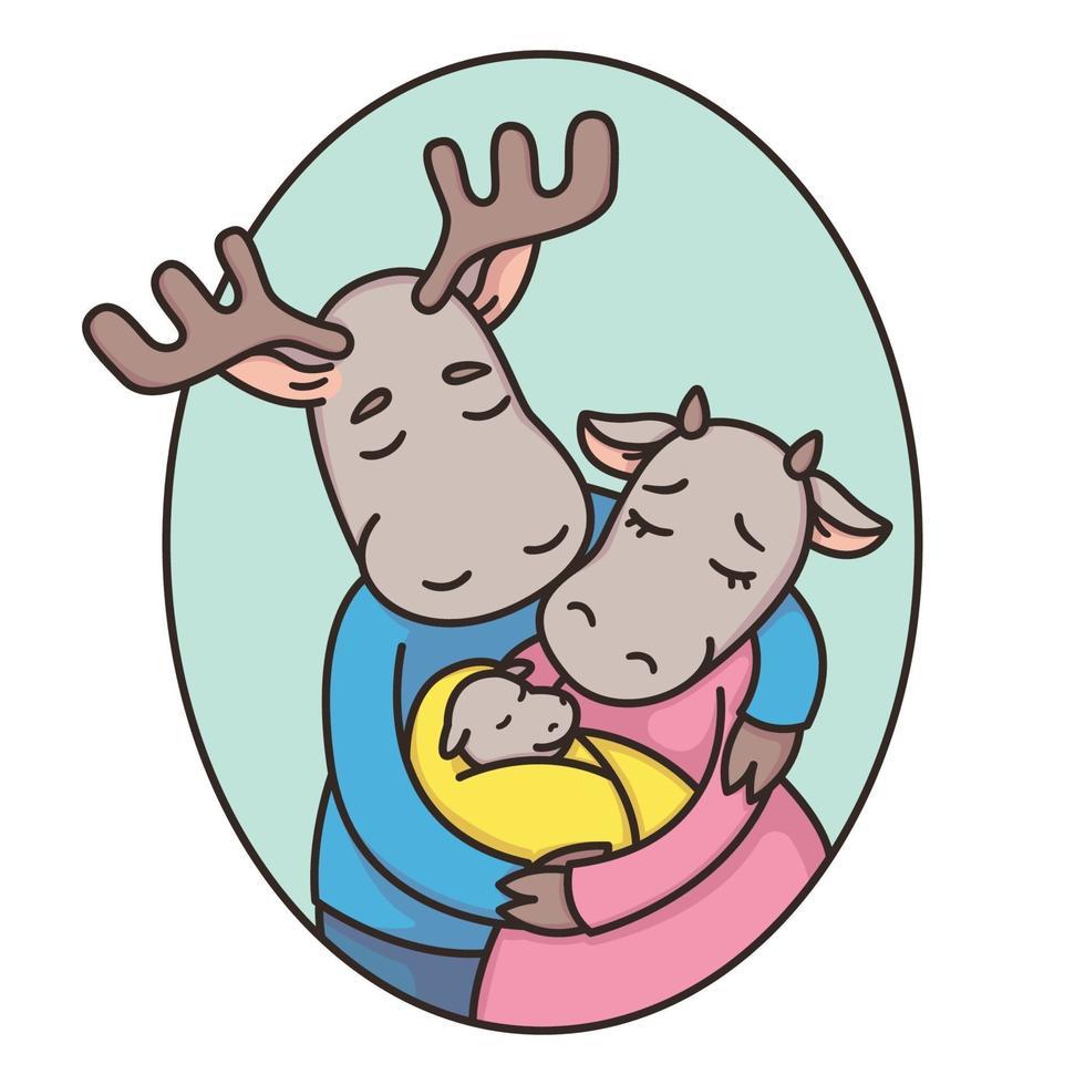 familj av rådjur eller älgar i en oval ram. pappa, mamma, nyfödd. far, mor och barn. äkta kärlek. tecknad djur karaktär vektorillustration isolerad på vit bakgrund. vektor