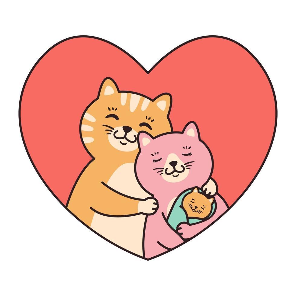 katter familjens mor, far och baby nyfödda kram i röd hjärtformad ram. gratulationskort för alla hjärtans dag, födelsedag, mors dag. tecknad karaktär vektorillustration isolerad på vit bakgrund. vektor