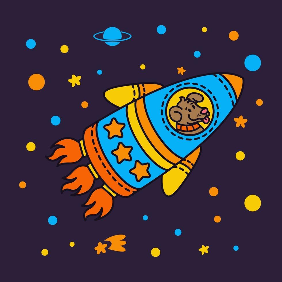hund i ett raket rymdskepp. stjärngalax. söt kosmonauthund i yttre rymden. vektorillustration på rymdtemat i barnslig stil. vektor