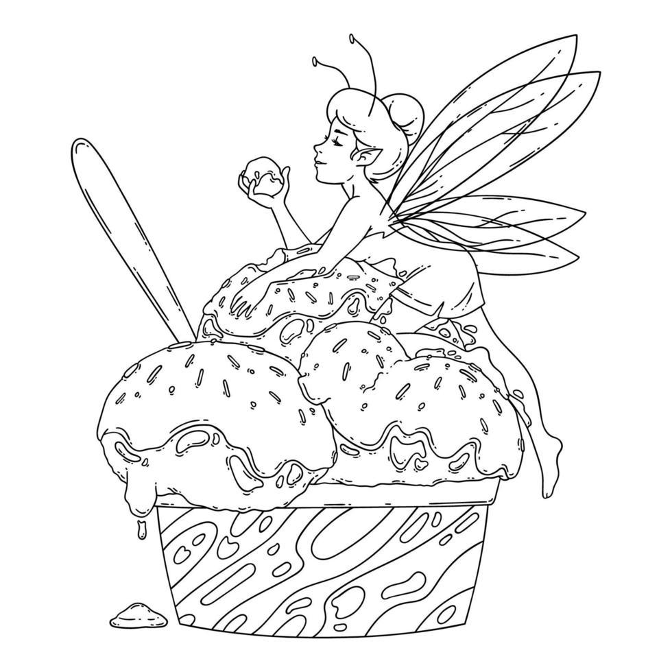 vacker älva ligger på bollar av glass. skissera svartvit konst. matkonst, sommaruppfriskande koncept, traditionella säsongens kalla sötsaker. målarbok. saga vektorillustration. vektor