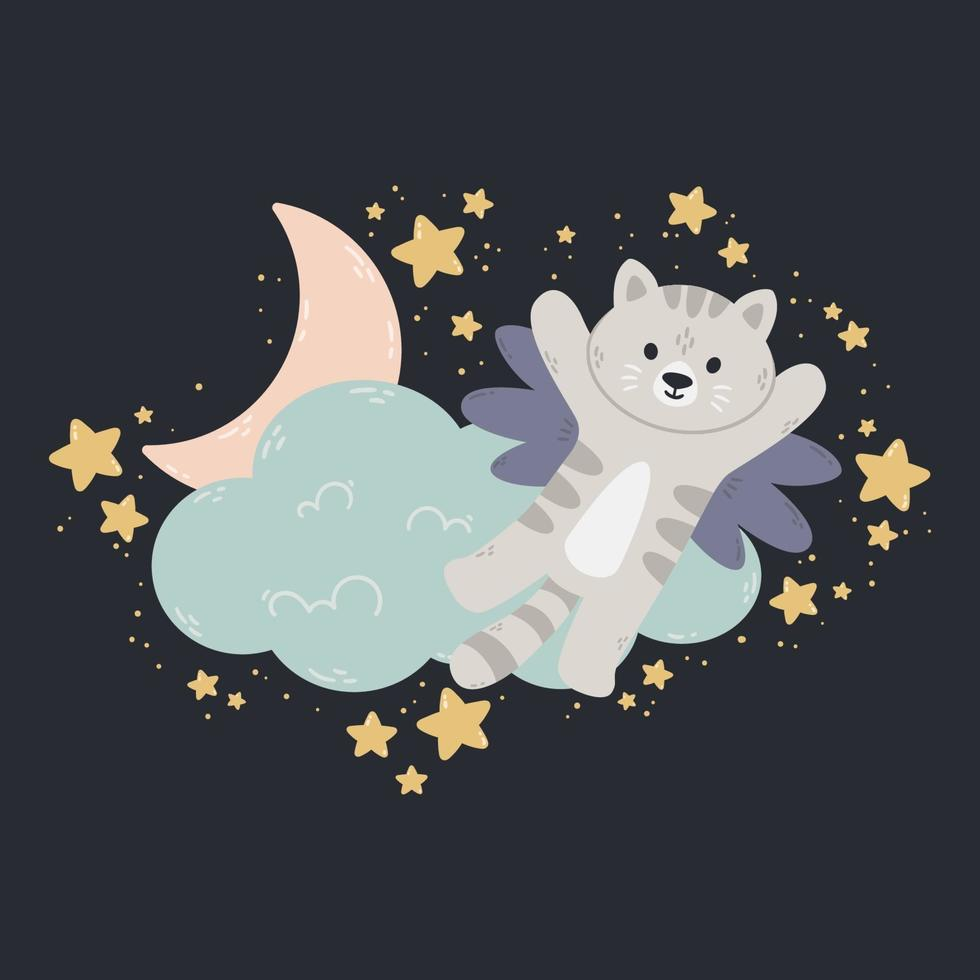katt med vingar flyger förbi molnet, månen och stjärnorna. mörk bakgrund. vektor tryck för baby rum, gratulationskort, barn och baby t-shirts och kläder, kvinnans svär. god natt plantskola illustration.