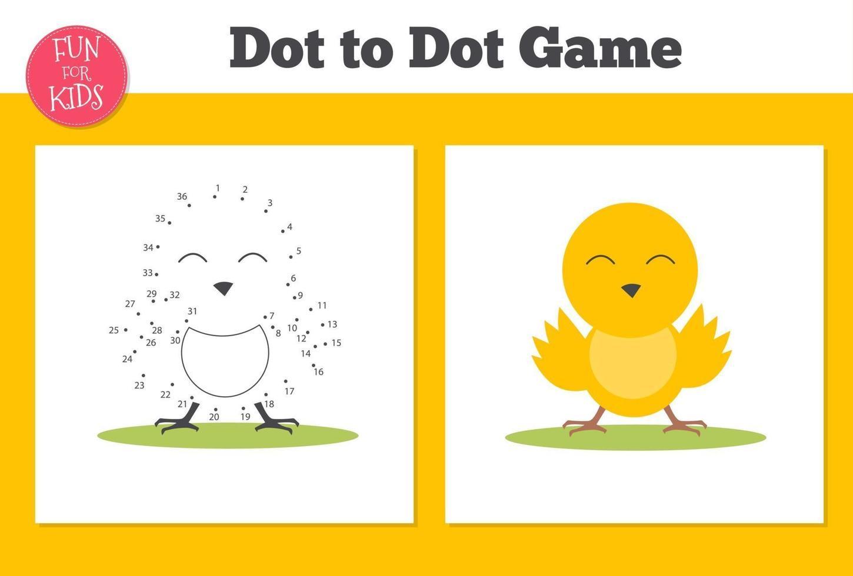 prick-till-prick spel för barnens skolundervisning. målarbok med anka för utbildning. vektor