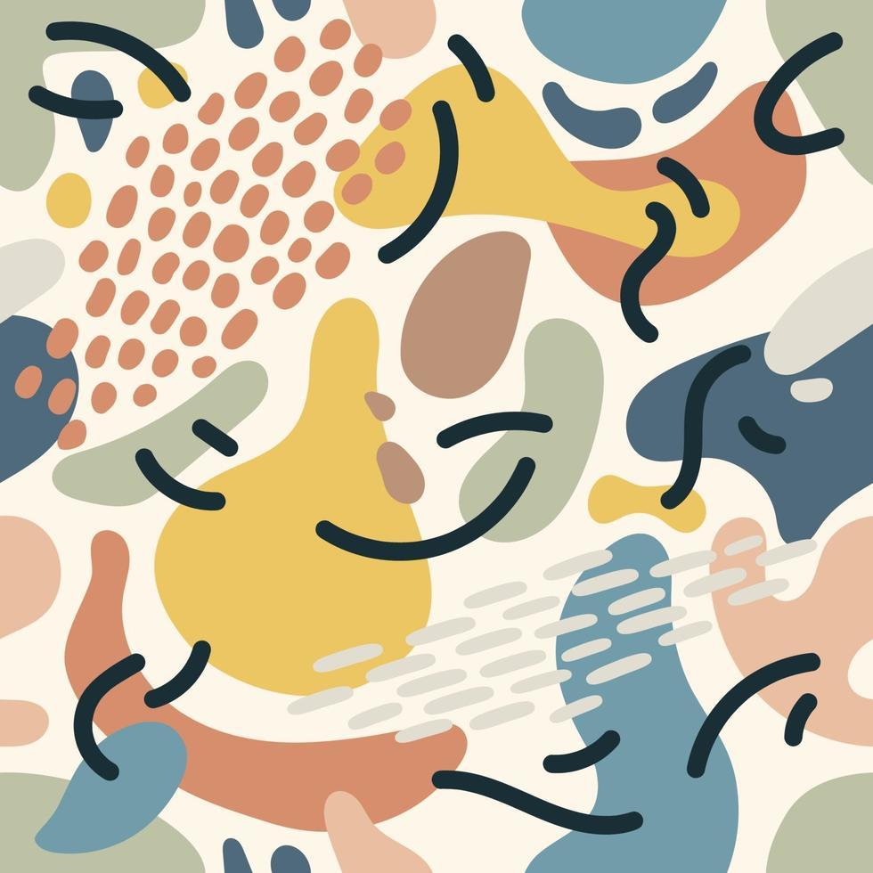 sömlös abstrakt mönsterbakgrund med färgglada element. trendig textil, tyg, omslag. ytdesign. vektor konsistens för din design. enkel modern struktur med kaotiska målade former.