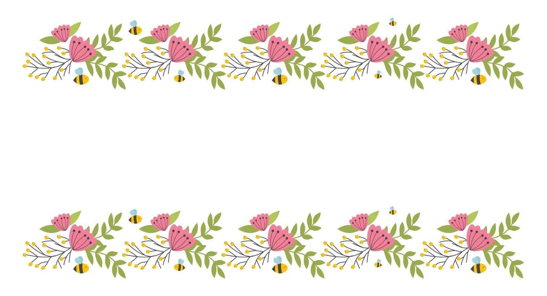blommig kantelement. botanisk blomvacker vårram vektor