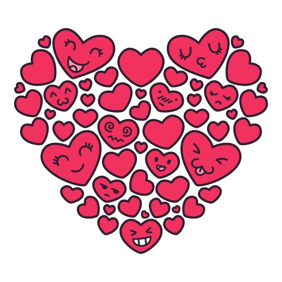 handritade kawaii emoji röda hjärtan vektorillustrationer. hälsning vykort element för mors dag, bröllop, alla hjärtans dag. doodle illustration isolerad på vit bakgrund. vektor