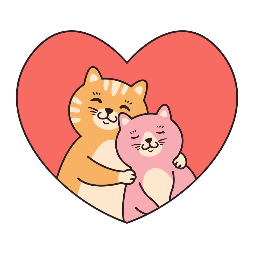 katt par i kärlek kram. gratulationskort för alla hjärtans dag, födelsedag, mors dag. tecknad djur karaktär vektorillustration isolerad på vit bakgrund. doodle tecknad stil. vektor