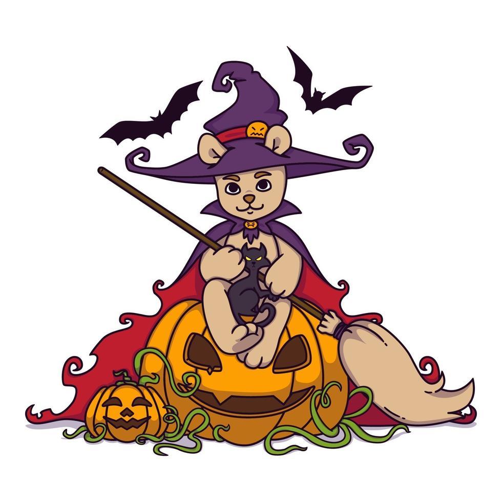 nallebjörn i en häxahatt och mantel med en kvast i händerna sitter på en halloween pumpa med svart katt och fladdermöss. vektorillustration isolerad på vit bakgrund. tryck för affisch och vykort. vektor