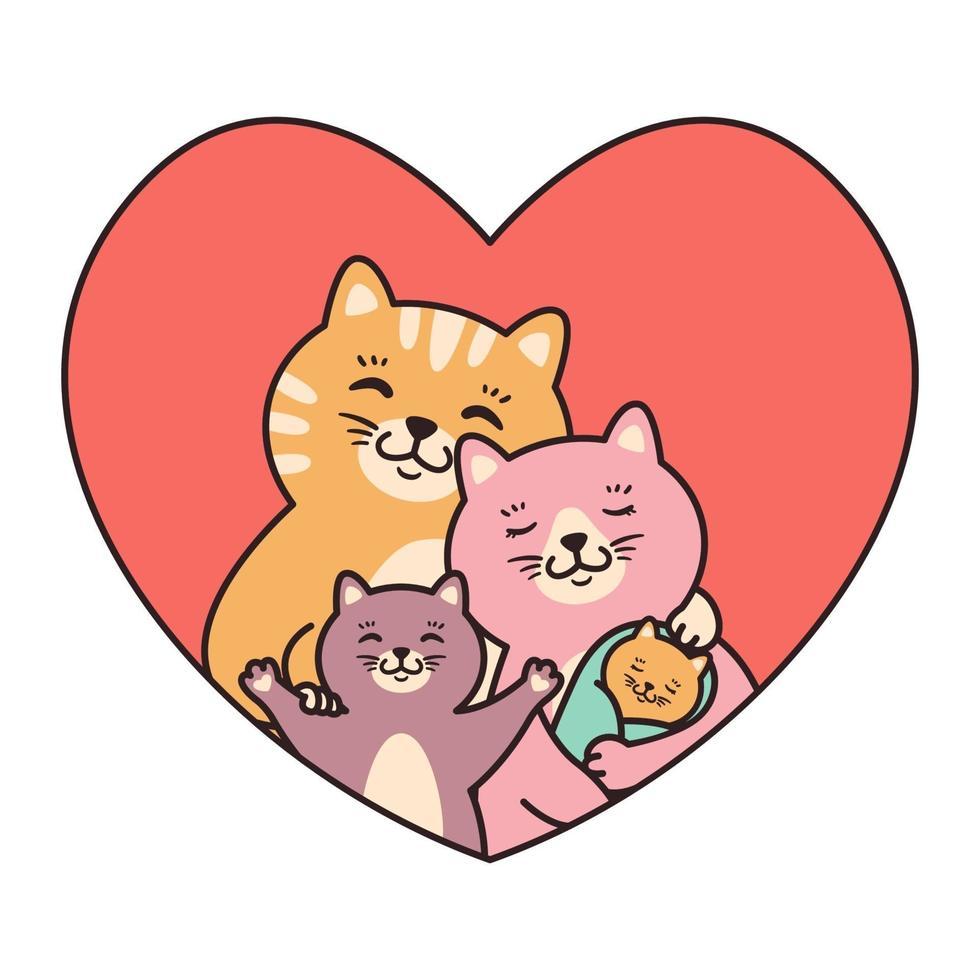 katter familjens mor, far, barn och nyfödda baby kram i hjärtat. gratulationskort för alla hjärtans dag, födelsedag, mors dag. tecknad klotter karaktär vektorillustration isolerad på vit bakgrund. vektor