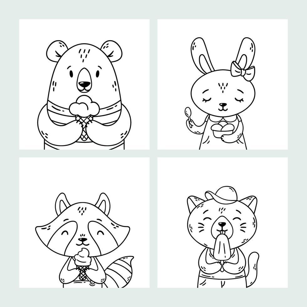 uppsättning söta roliga tecknade sommardjur. Björn, kanin, tvättbjörn och katt äter glass, slickar is, kon. vektor disposition handritad illustration. målarbok. svartvitt konst.