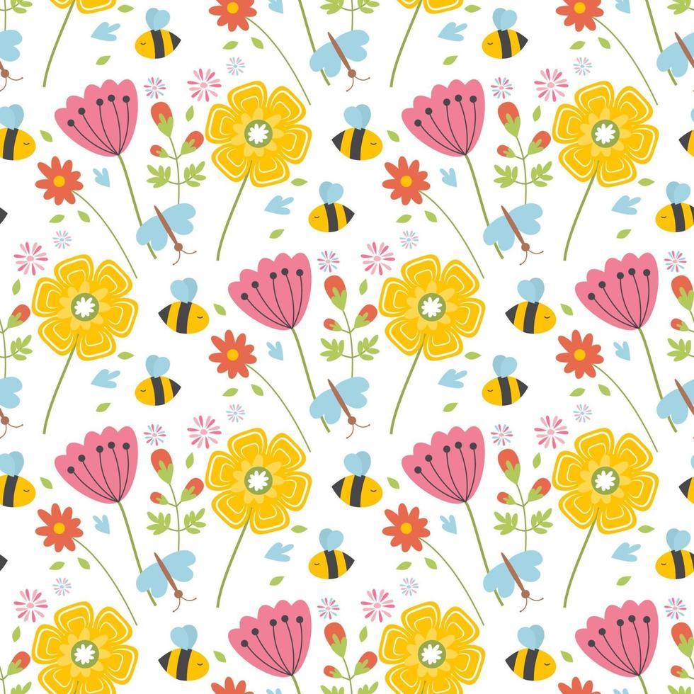 påsk vår sömlösa mönster med söta djur, fåglar, bin, fjärilar. vektor