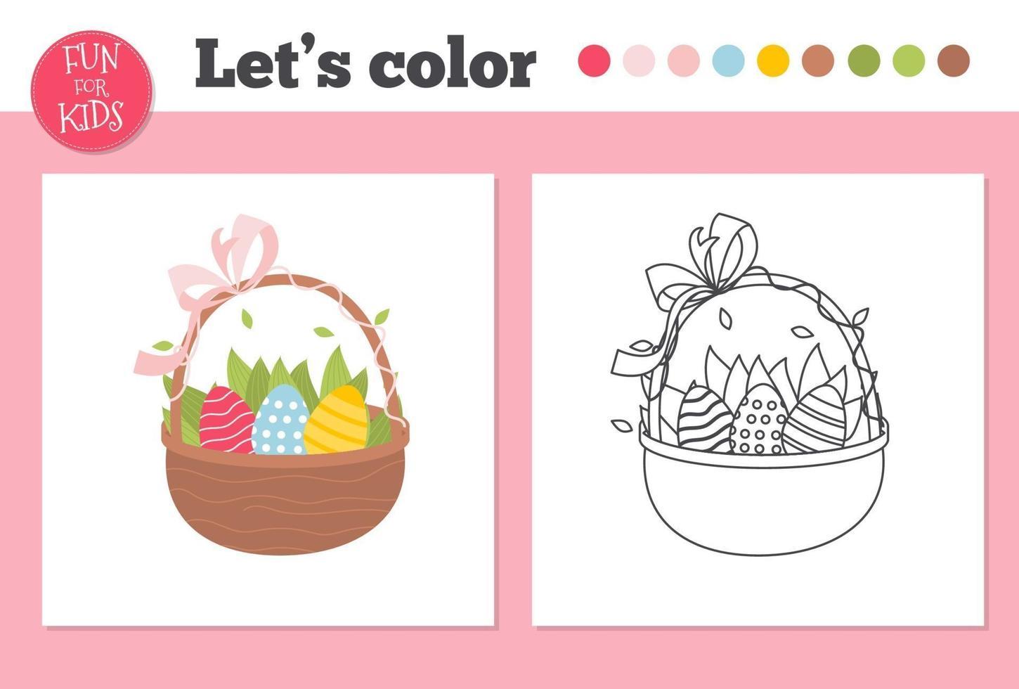 målarbok påskägg för förskolebarn med enkel pedagogisk spelnivå. vektor