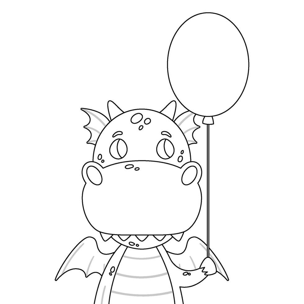 söt drake med en baloon. vektor