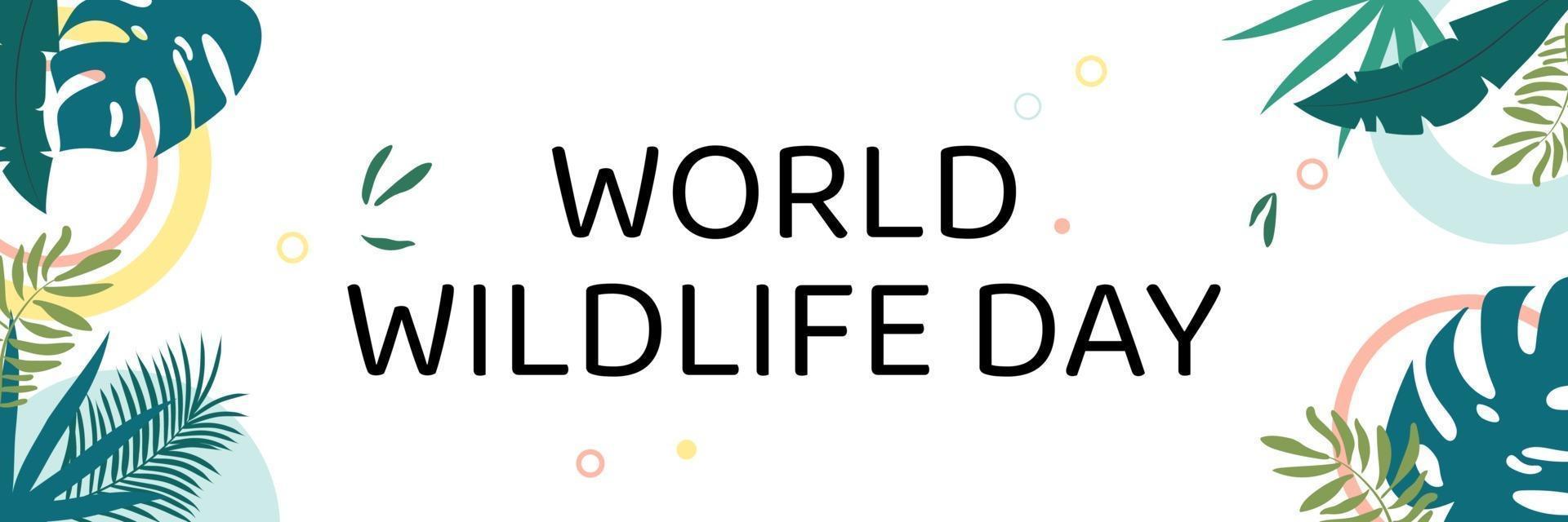världens vilda djurdag. text bland djungeln. vektor illustration