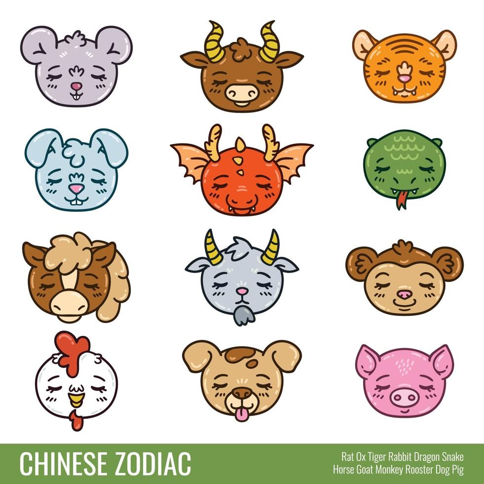 söt kinesisk zodiak. vektor