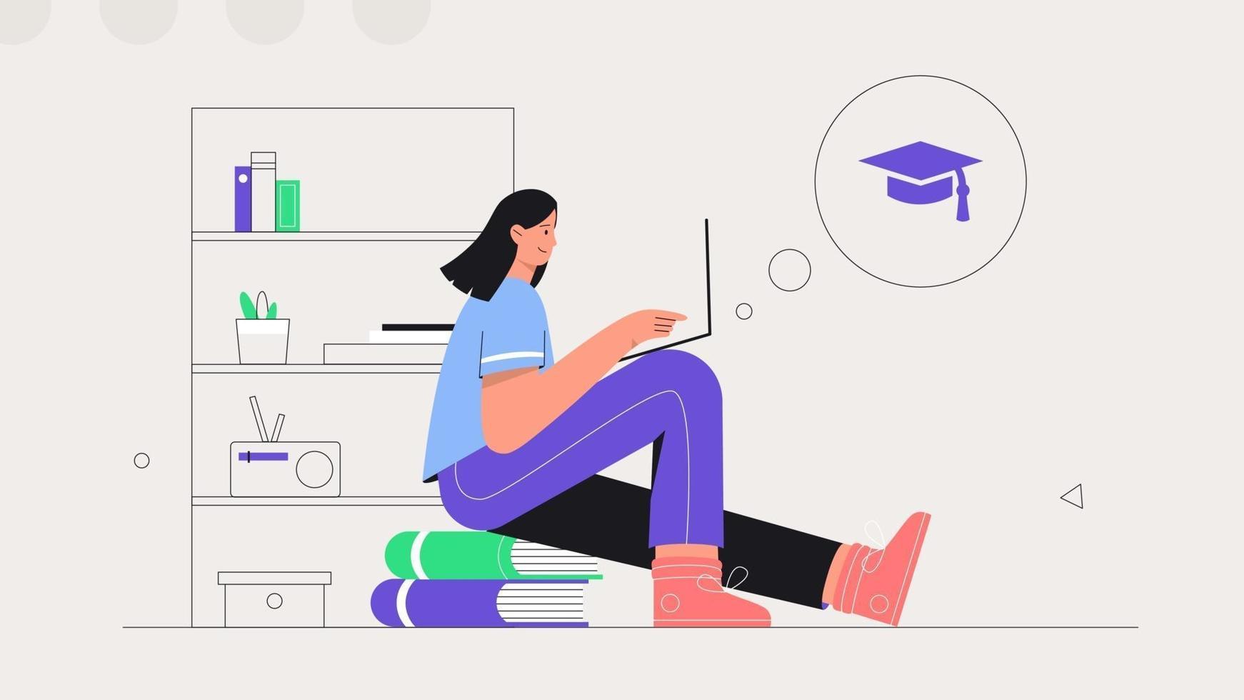 Schüler lernen online zu Hause. junge Frau sitzt auf einem Stapel Bücher und studiert online auf einem Laptop. flache Artvektorillustration. das Konzept des Fernunterrichts. vektor
