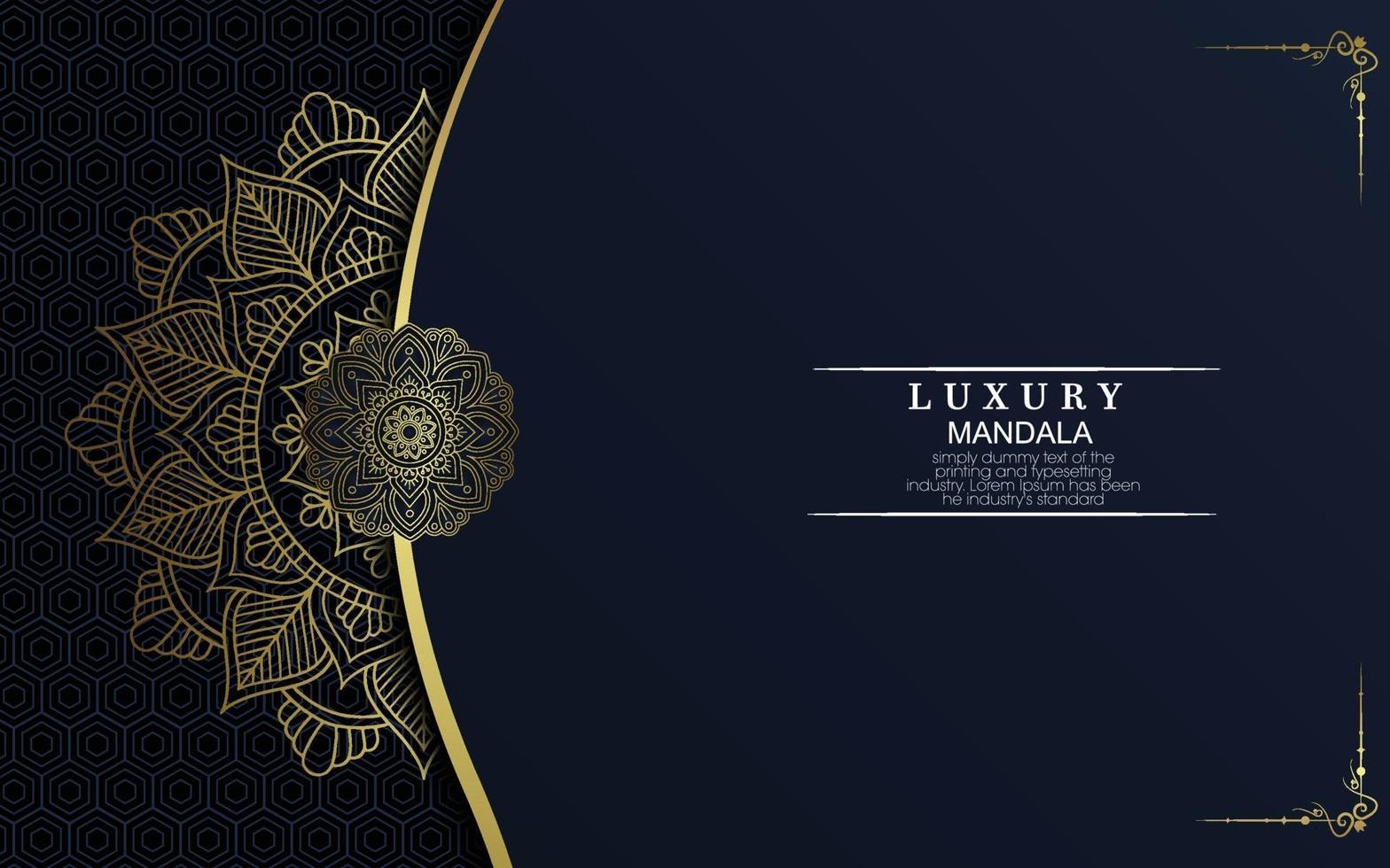 lyxig guld mandala utsmyckad bakgrund för bröllopsinbjudan, bokomslag vektor