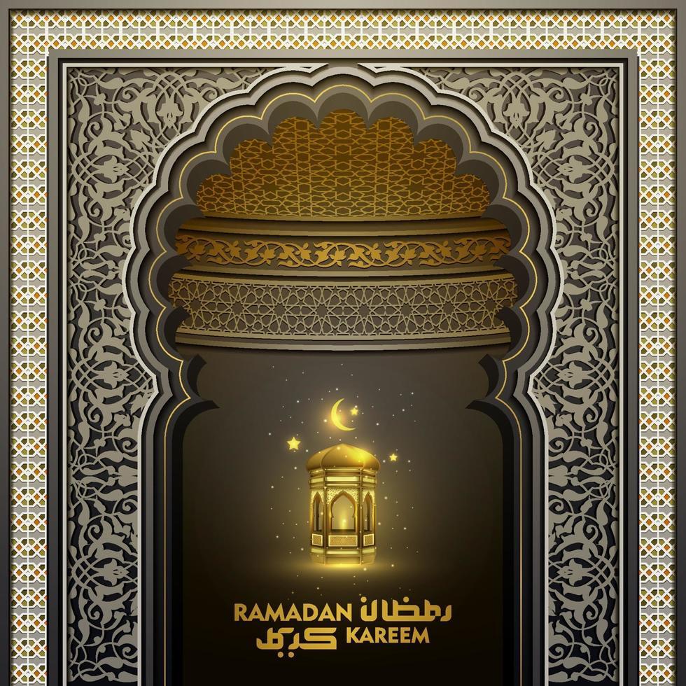 ramadan kareem hälsning islamisk dörr moské mönster vektor design med arabisk kalligrafi