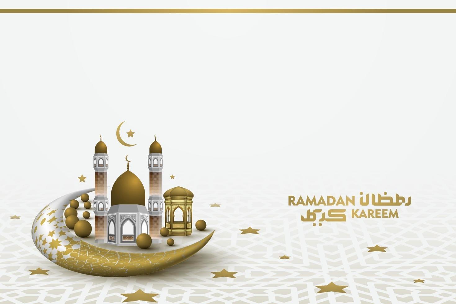 ramadan kareem hälsning islamisk illustration bakgrundsvektordesign med vacker arabisk kalligrafi och moské för banner, tapeter, kort och brosur vektor