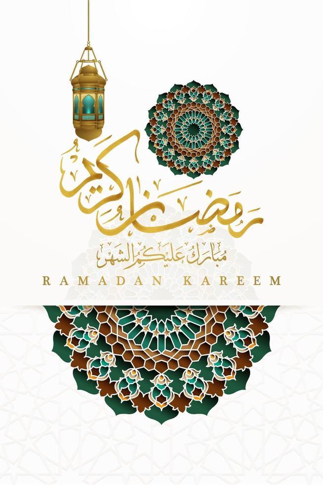 ramadan kareem gratulationskort islamisk blommönster vektor design med arabisk kalligrafi