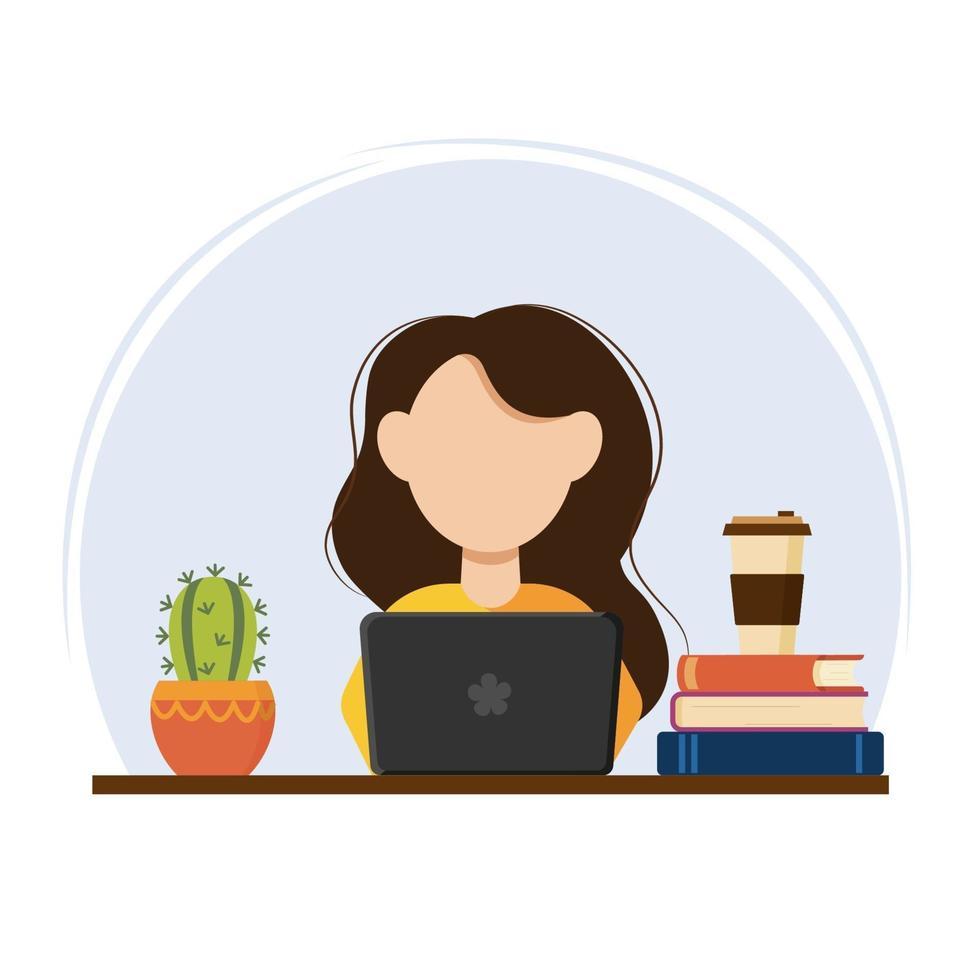 hemmakontor, kvinna som arbetar eller studerar hemifrån vektor