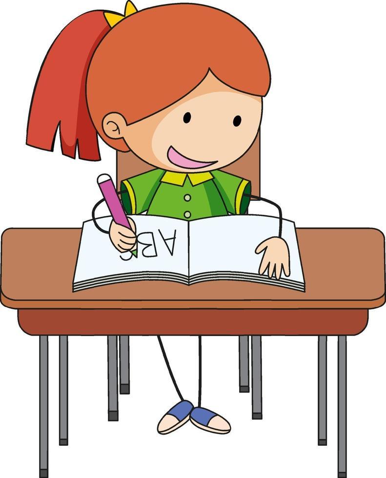 en tjej som gör läxor klottertecknad karaktär vektor