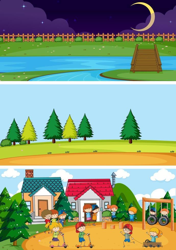 uppsättning olika horisontella scener bakgrund med doodle barn seriefigur vektor
