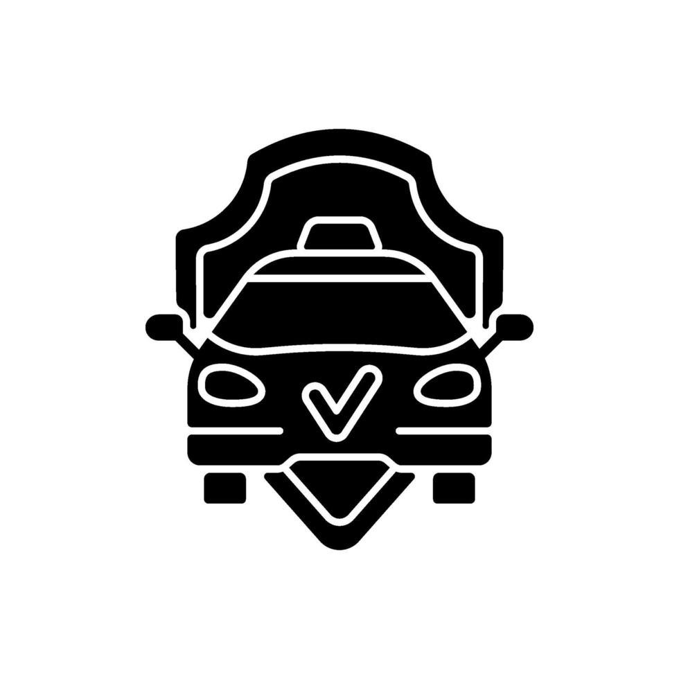 säker ride svart glyph ikon vektor