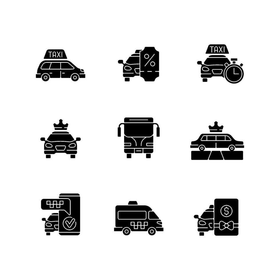 stadstrafik svart glyph ikoner på vitt utrymme vektor