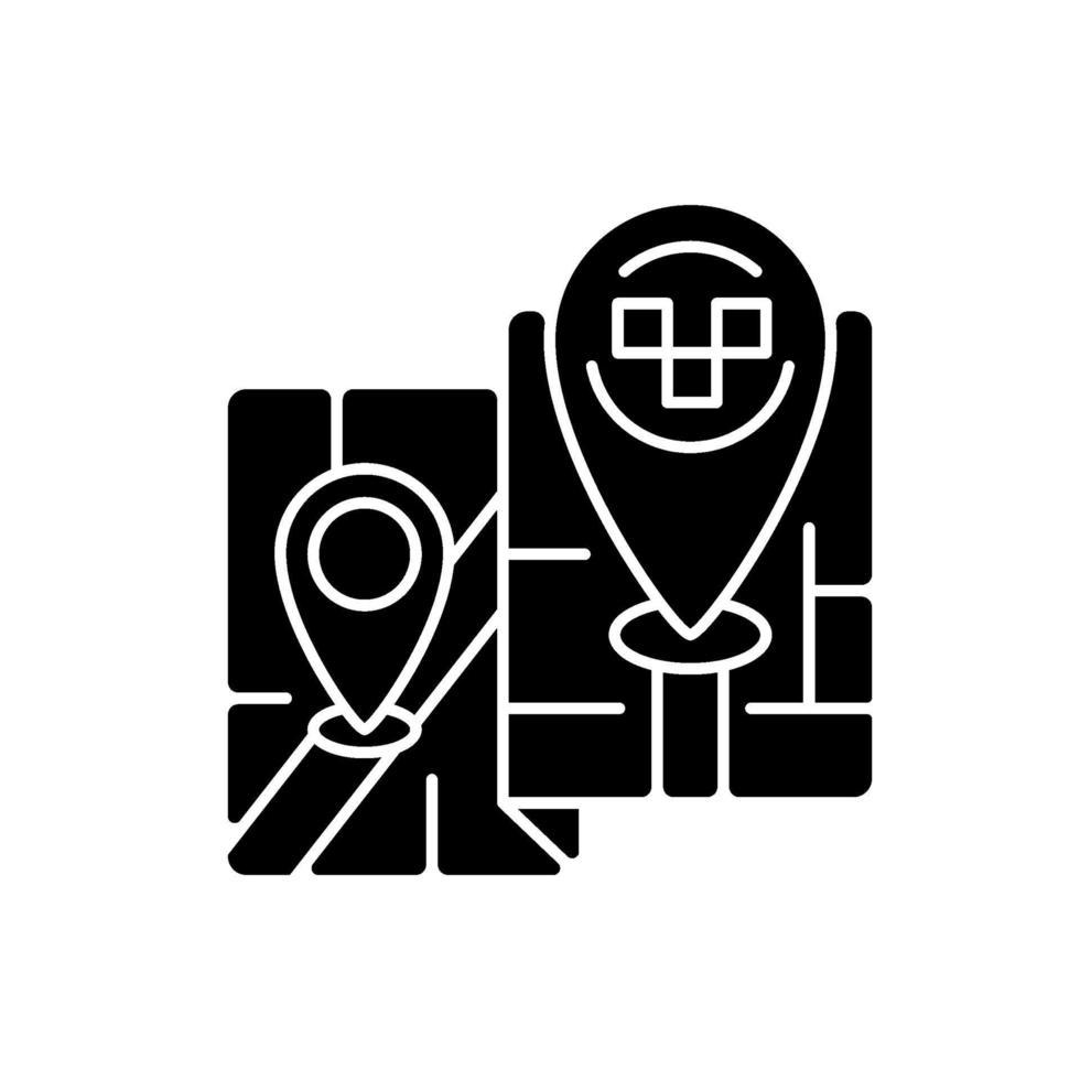 långväga resor svart glyph ikon vektor