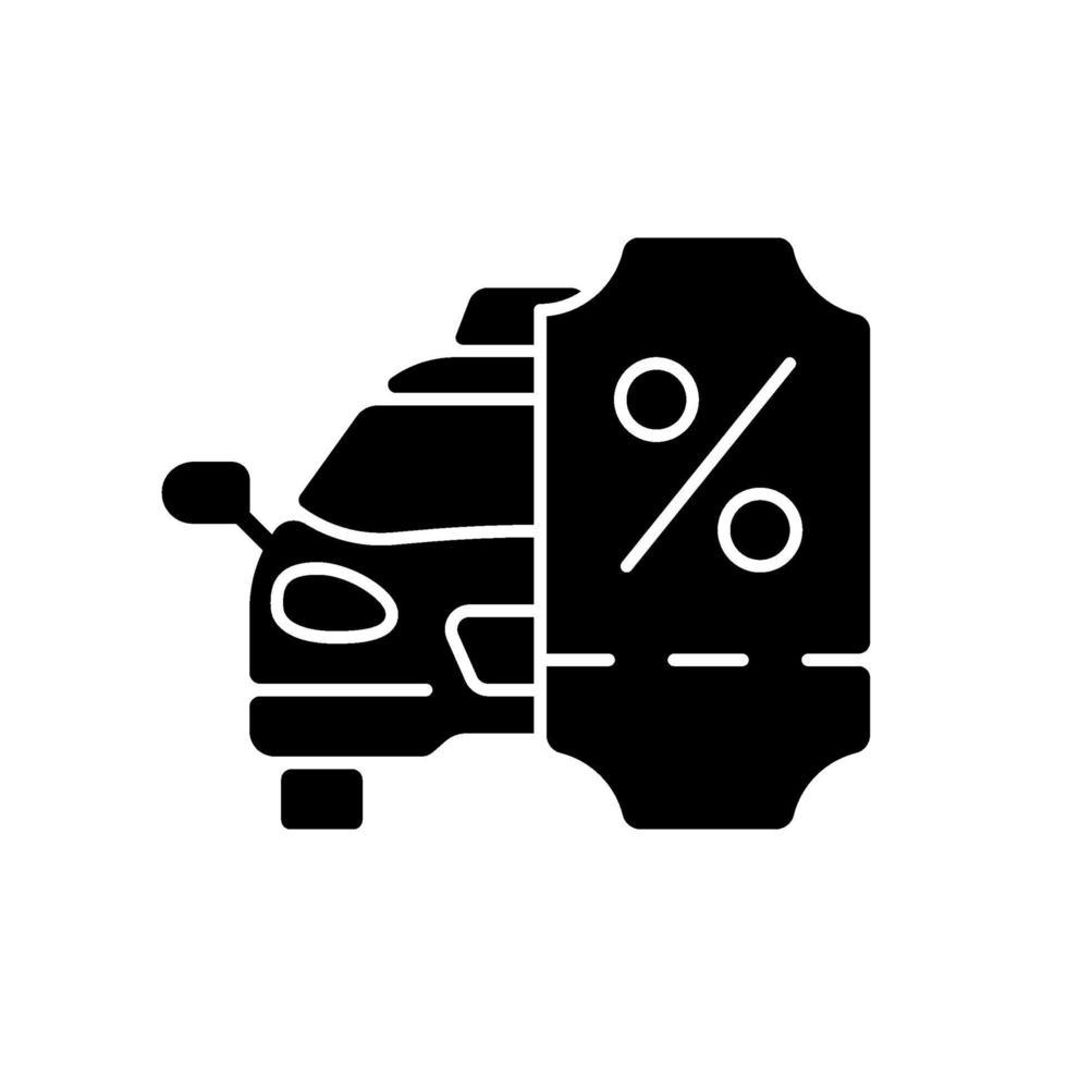 taxi rabatt program svart glyph ikon vektor