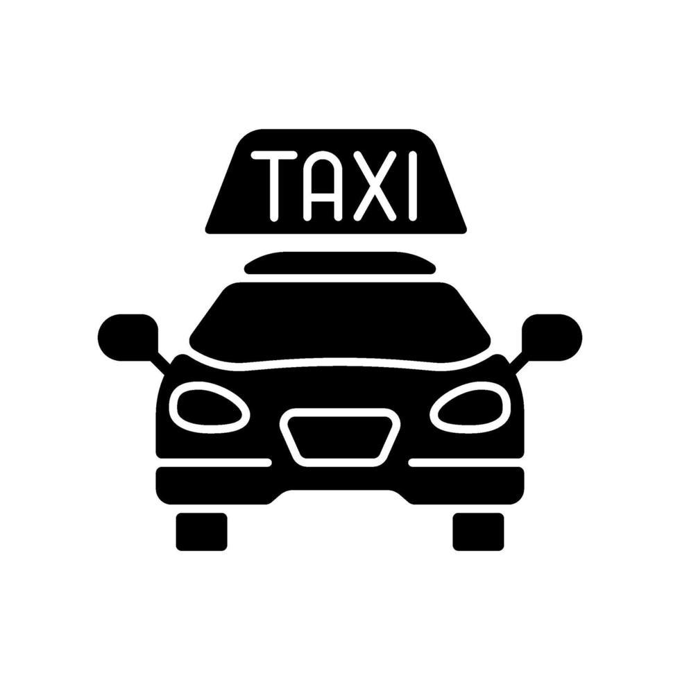 taxi svart glyph ikon vektor