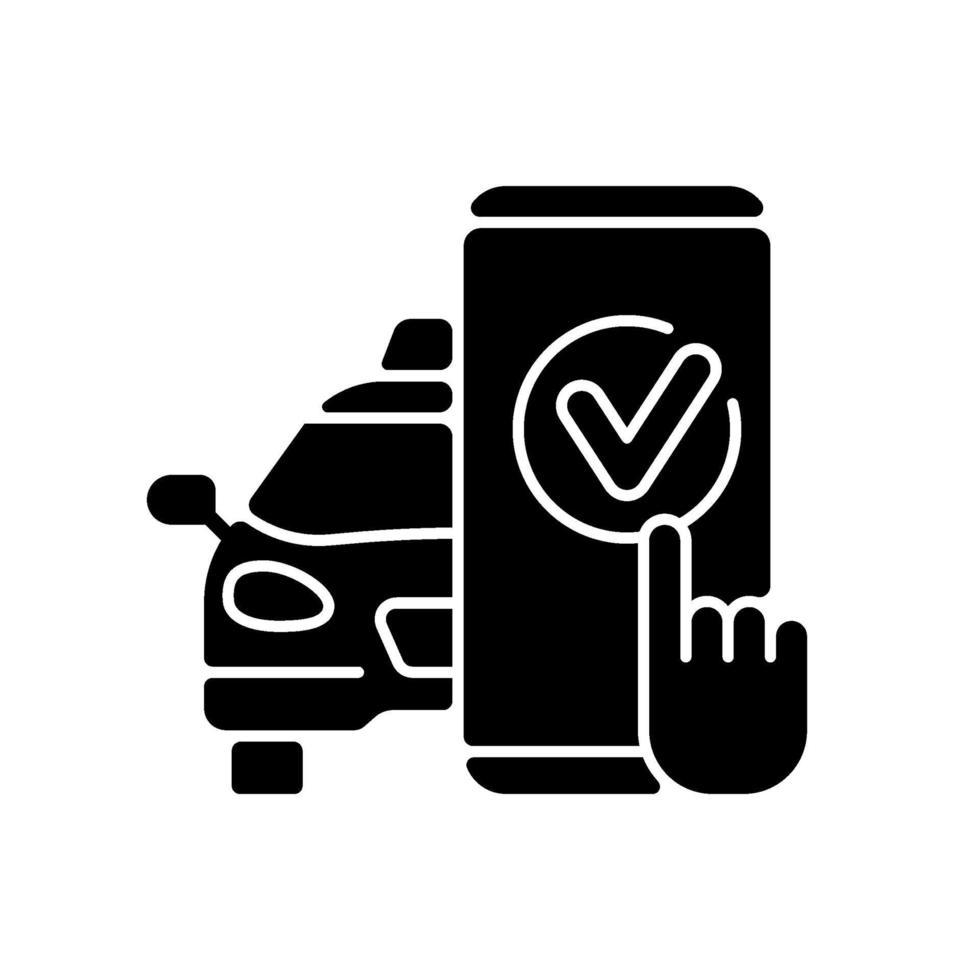 taxi bokning svart glyph ikon vektor