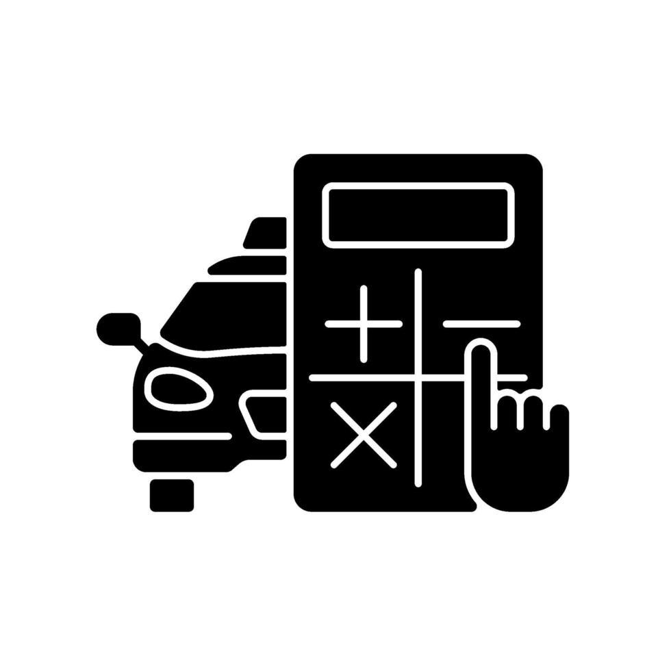 hastighetsberäknaren svart glyph-ikon vektor