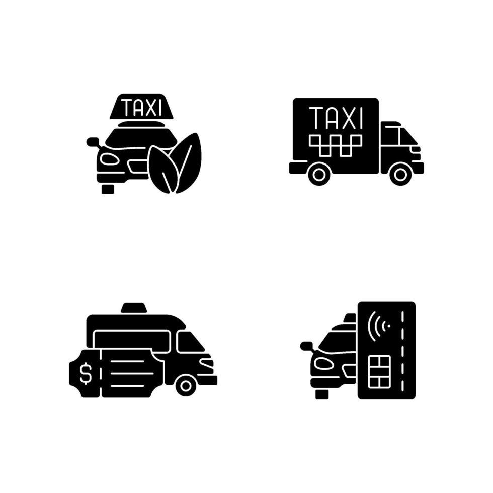 miljövänliga taxisvarta glyphikoner på vitt utrymme vektor