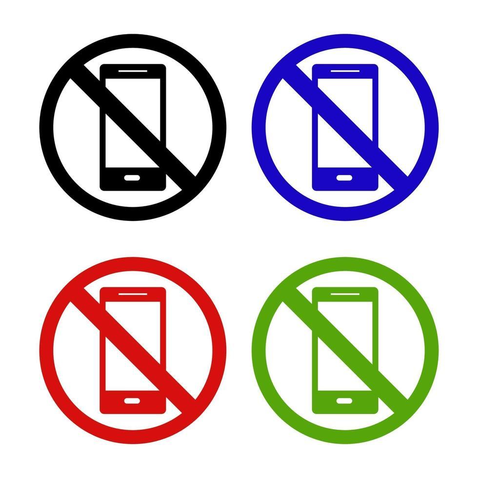 Satz Smartphone-Verbot auf weißem Hintergrund vektor