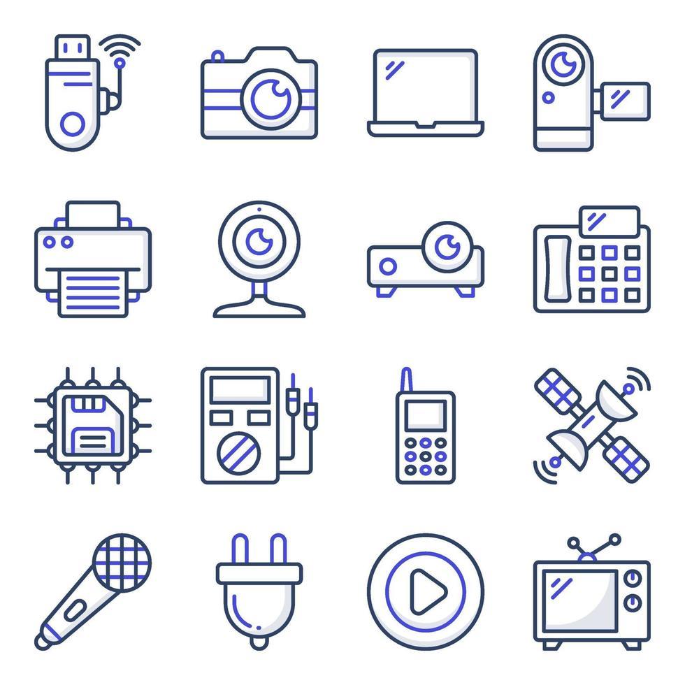 paket med apparater och elektroniska platta ikoner vektor