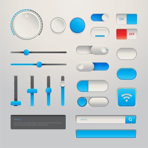 Wireframe Element Button Set für im modernen realistischen Design vektor