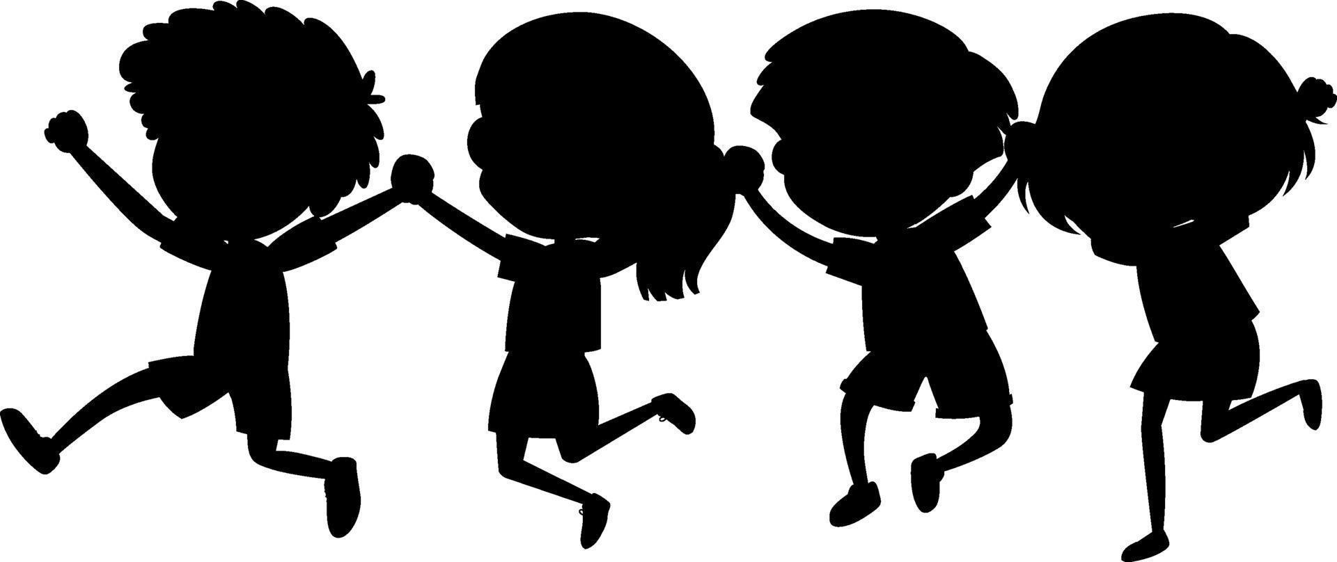 uppsättning barn silhuett seriefigur vektor