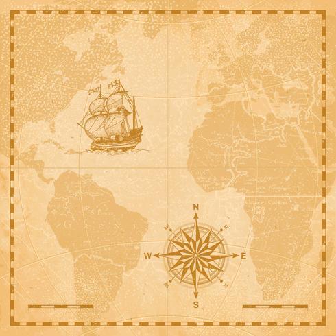 värld gammal karta vektor