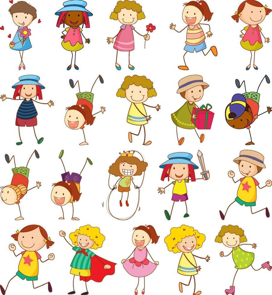uppsättning av olika barn i doodle stil vektor