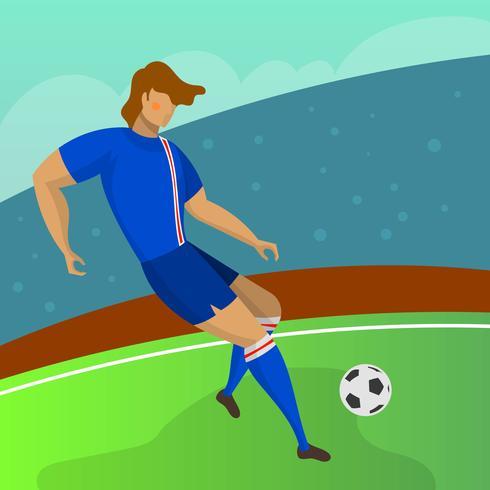 Modern Minimalist Island Soccer Player Striker för världscupen 2018 dribbla en boll med gradient bakgrund vektor illustration