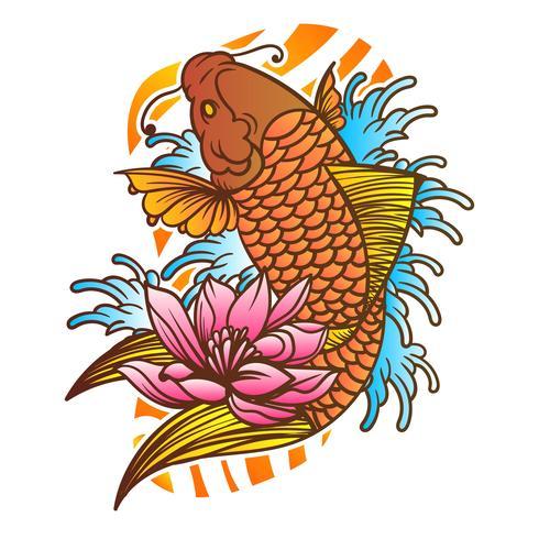 Traditionelle japanische Koi Fisch-Tätowierung mit Wellen-und Blumen-Hintergrund-Vektor-Illustration vektor