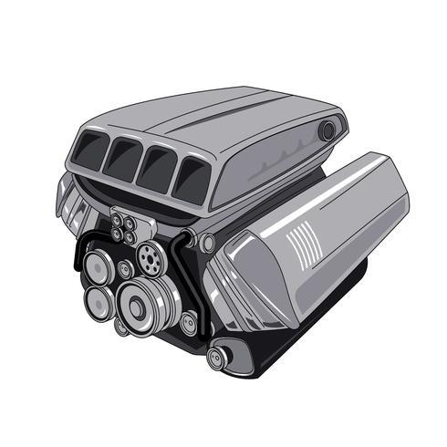 Moderner Automotor lokalisiert auf Weiß vektor